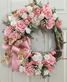 Rose Wreath Victorian Wreath Front Door Wreath Pink Rose