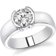 Semi-Bezel Round Forever Brilliant Moissanite Solitaire Ring