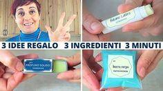 come fare 3 idee regalo fai da te, con 3 ingredienti, in 3 minuti e con 3 euro! balsamo labbra, profumo solido e burro corpo