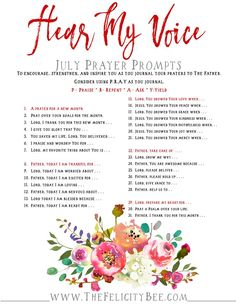 To Download your February Prayer Prompts, CLICK HERE. As we head into the busy summer months, let's not forget to cultivate our prayer life and our relationship with the Lord. The Hear My Voice prayer prompts have helped me to communicate my heart with The Lord's heart, and I pray they encourage you to build a vibrant prayer life.