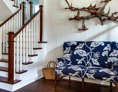 Custom made driftwood sculpture(love it!) and a Ralph Lauren Home settee