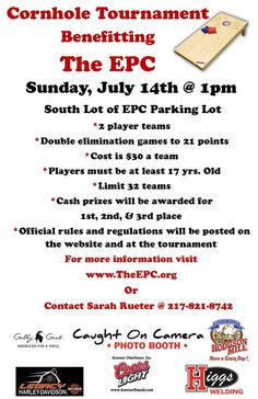 Cornhole Tournament to benefit the EPC flyer Cornhole Tournament, Baseball Tournament, Team Mom, A Team, Church Fundraisers, Pta School, Church Events, Vendor Events, Relay For Life