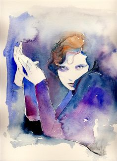 Beautiful watercolour painting by Cate Parr of silver ridge studio    Watercolor Fashion Illustration Print - Tilly Losch artist dancer. $35.00, via Etsy.