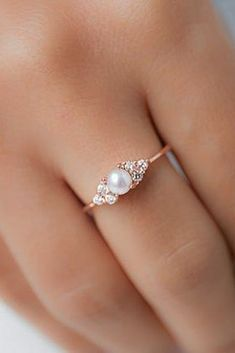Engagement Rings : Picture Description Pearl Engagement Rings For A Beautiful Romantic Look ❤ pearl engagement rings rose gold three stones ❤ More on the Rose Gold Engagement Ring, Engagement Ring Settings, Vintage Engagement Rings, Non Traditional Engagement Rings Vintage, Oval Engagement, Engagement Rings With Pearls, Engagement Tips, Unique Diamond Rings, Unique Rings