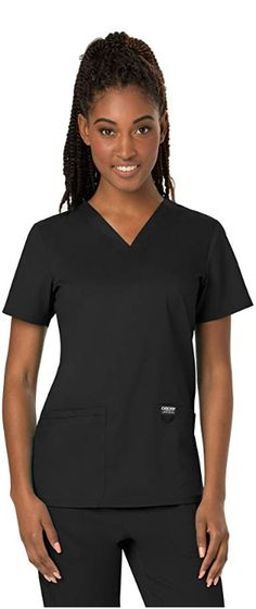 Modern Classic Women's V-Neck Short Sleeve Top Length: Double pocket with instrument loop, Patch Pockets, Pen Slot Bi-Stretch, Ultra Soft Black Scrubs, Cherokee Scrubs, Pants For Women, Clothes For Women, Diy Clothes, Tall Women, Scrub Tops, V Neck Tops, Fashion Brands