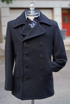 Slim Fit Peacoat in Navy Wool Melton at Epaulet