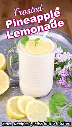 Making Frosted Pineapple Lemonade is a great way to brighten any day and is the perfect summer sipper for the whole family to enjoy. Strawberry Pineapple Smoothie, Pineapple Lemonade, Frozen Lemonade, Frozen Drinks, Refreshing Drinks, Summer Drinks, Fun Drinks, Beverages, Alcoholic Drinks