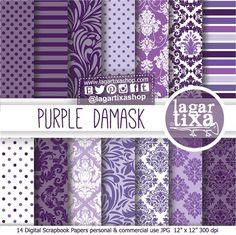 Purple Damask Patterns Digital Paper Pale Purple Intense white violet lilac lavender for blog scrapbook invitations labels toppers #etsy #crafts