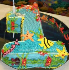Homemade  Under Water World Birthday Cake: I made this Under Water World Birthday Cake for my little boy's 1st birthday and the theme was 'Under Water World'. I wanted to make a No.1 cake and decided