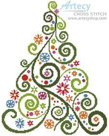 Artecy Cross Stitch. Abstract Christmas Tree Cross Stitch Pattern to print online.