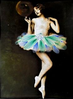 Vintage photos of graceful ballerinas + colorful bursts of thread stitching = the fantastic work of Berlin-based Chilean mixed media artist Jose Romussi