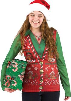 Ugly Christmas Sweater Vest T-Shirt.