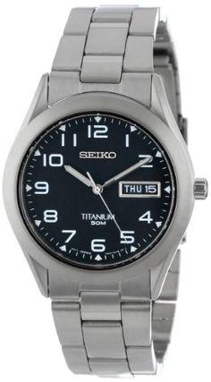 51a2cd30b490 Seiko Men s SGG711 Black Dial Titanium Watch - http   www.specialdaysgift.