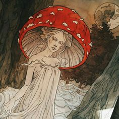 Liiga Klavina ( uploaded by Alrauna Arte Hippy, Art Sketches, Art Drawings, Les Fables, Urbane Kunst, Mushroom Art, Dibujos Cute, Poses References, Hippie Art