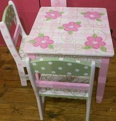 Custom Made Table and Chair set for Girls Pionk and Grfeen Dots Flowers Shabby  Kids Furniture and Decor