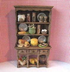 Dollhouse Miniature, Tudor Kitchen Hutch, Medieval Kitchen  Dresser,  Filled dresser, dollhouse hutch,  twelfth scale,miniature