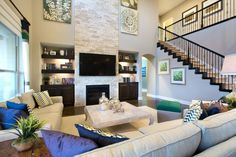Great Room, Living Room Great Rooms, Stairs, Living Rooms, Couch, How To Plan, Bedroom, Interior, Furniture, Staircases