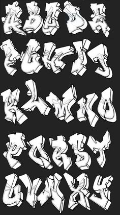 Graffiti alphabets with a cool style. Examples of good graffiti alphabet A-Z to create graffiti art. Graffiti Letters Styles, Graffiti Lettering Alphabet, Graffiti Writing, Tattoo Lettering Fonts, Graffiti Font, Graffiti Tagging, Alphabet Letters, Grafitti Letters, Graffiti Artists