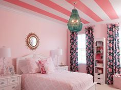 A Fascinating Pink Bedroom With Inspiring Stripe Ceiling Plus Simply Pink Bedding And White Wooden Cabinet Also Excellent Tosca Chandelier And Round Mirror Pretty 50 Ideas for Little Girls Bedroom Design Bedroom design, Kids room http://seekayem.com