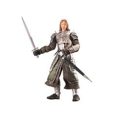 """LOTR Return of the King Faramir Action Figure. """"This incredibly detailed, fully poseable action figure is based on the third film in the Lord of the Rings trilogy, The Return of the King. The combination of laser-scanning technology coupled with intricate sculpting has flawlessly captured the likenesses of the actors, their costumes and weapons. This Faramir figure comes with authentic character-dedicated accessories and sword-slashing action! """""""