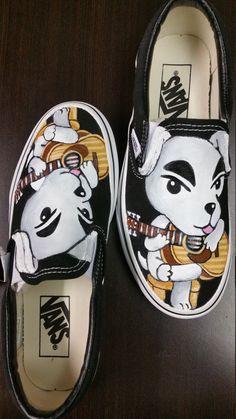 K.K. Slider Animal Crossing Game Nintendo music player guitar dog puppy cute video new leaf plaza painted shoes vans DJ N64 GCN wild world etsy art custom