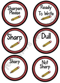 Pencil Cup Labels