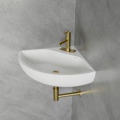 Corner Sink Bathroom Small, Small Downstairs Toilet, Corner Toilet, Bathroom Sink Design, Small Sink, Small Toilet, Corner Wall, Basement Toilet, Small Attic Bathroom