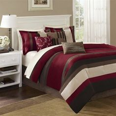 7 Piece Comforter Set Size Queen  Bedding Set Queen Bed Bedroom Décor Bed in A B