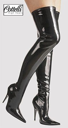 "Schuhe Overknee Stiefel ""The Hague"" 36 - 46 Lack Schwarz Damenschuhe Thigh High Boots, High Heel Boots, Over The Knee Boots, Heeled Boots, Botas Sexy, Sexy Boots, Cool Boots, Black Boots, Leder Boots"