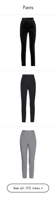 """Pants"" by carolines-closet ❤ liked on Polyvore featuring pants, black, highwaisted pants, highwaist pants, black velvet pants, haider ackermann, high waisted black trousers, black trousers, tailored pants and slim leg pants"