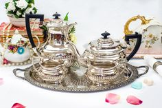 Stunning Silver plated Tea service including Teapot, Coffee pot Creamer, Sugar Set and tray . Made in Sheffield England by FlyingSquirrelNest on Etsy