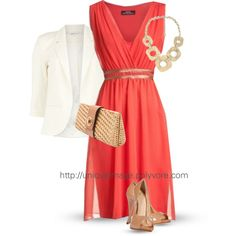 """""""Sleeveless Coral Dress"""" by uniqueimage on Polyvore"""