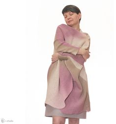 Hand Knit Plus size coat for Women, wool cape from Knitted convertible clothes by 2b-studio by DaWanda.com