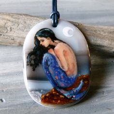 Amazing Mermaid on the rock  fused glass pendant by ArtoftheMoment