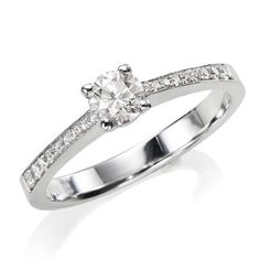 Certified, Round Cut, Solitaire Diamond Ring in 18K Gold / White (1/3 ct, H Color, VS2 Clarity) Chris Yard. $900.00
