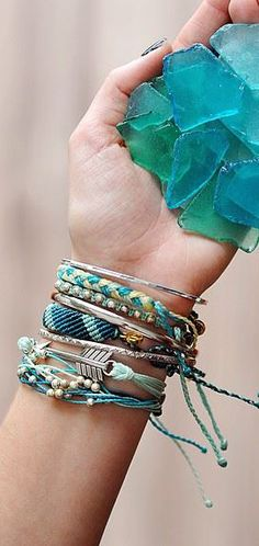 Seaglass layered bracelets
