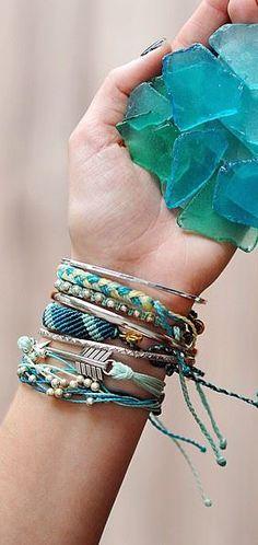 Seaglass layered bracelets
