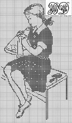Girl stitching silhouette free cross stitch pattern