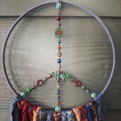 Rainbow Decorations, Heart Decorations, Yoga Studio Decor, Peace Art, Boho Wall Hanging, Dream Catcher Boho, Red Glass, Metal Beads, Czech Glass Beads