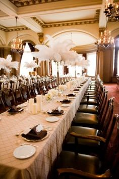 champgan chocolate weddings | The white feather centerpieces absolutely rock my world. They are so ...