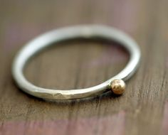 14k gold and silver pebble ring by Monkeys Always Look >> lovely!