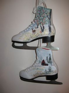 Up-cycled  Ice Skates hand-painted