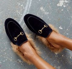 Gucci Princetown shearling lined slippers. Very similar to the accessories that Schiaparelli created involving fur to shoes and gloves...