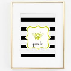 Black & White Classic Stripe Queen Bee Art Print for Kids