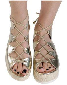 ΝΕΕΣ ΑΦΙΞΕΙΣ :: Σανδάλια Flatforms Greek Unique Style Gold - OEM Lace Up, Flats, Shoes, Style, Fashion, Loafers & Slip Ons, Swag, Moda, Zapatos