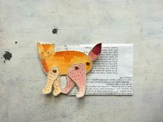 articulated paper cat decoration tangerine and marsala by vumap