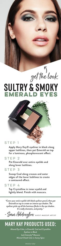 A hint of shimmering Mary Kay® Mineral Eye Color in Emerald creates sultry, smoky eyes. Applied with the perfect eye brushes, this becomes a glamorous look you need all season long. | Mary Kay