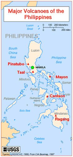 "Map of Major Volcanoes of the Philippines. BBC Boracay says: "" The Philippines are hot. Mount Pinatubo, Bbc, Olongapo, Taal Volcano, Mindoro, Filipino Culture, Philippines Travel, Philippines Culture, Nature"
