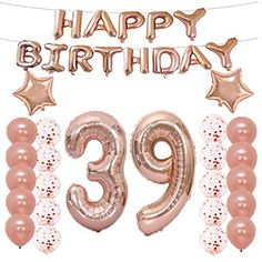 Lqqdd Birthday Decorations Party Birthday Balloons Rose Gold,number 39 Mylar Balloon,latex Balloon Decoration,great Sweet photo ideas from Amazing Party Decoration Ideas 25th Birthday Parties, 39th Birthday, Birthday Gifts For Girls, Gold Confetti Balloons, Mylar Balloons, Latex Balloons, Bachelorette Party Decorations, Birthday Party Decorations, Happy Birthday Greetings