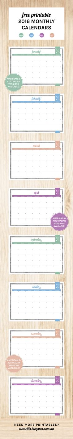 Free Printable 2016 Monthly Calendars by Eliza Ellis. Available in both…